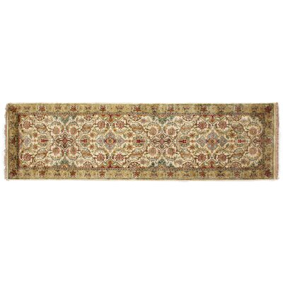 European Polonaise Hand-Knotted Wool Cream/Spruce/Brown Area Rug