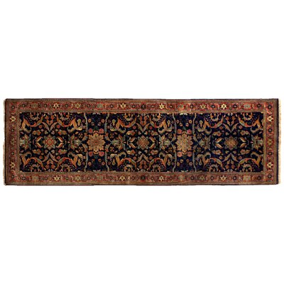 Ferahan Hand-Knotted Wool Navy/Red Area Rug