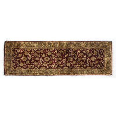 Super Kashan Hand-Knotted Wool Maroon/Green Area Rug
