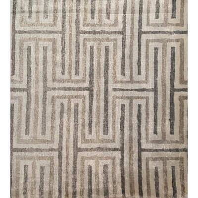 Hand-Knotted Ivory/Taupe Area Rug
