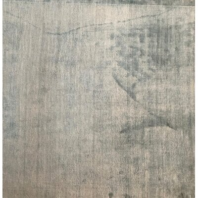 Plain Hand-Knotted Blue Area Rug