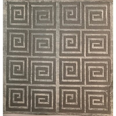 Greek Key Hand-Knotted Silver Area Rug