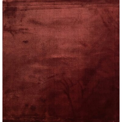 Plain Hand-Knotted Dark Red Area Rug