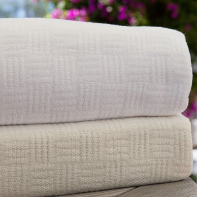 Luxury Rayon from Bamboo Cotton Weave Blanket Color: Natural, Size: King