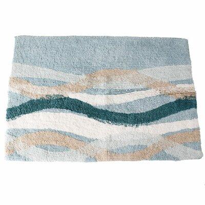 Sketchbook Waves Bath Rug Color: Teal