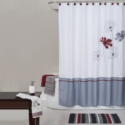 Evan Stripe Scarlet Shower Curtain