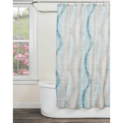 Sketchbook Waves Shower Curtain Color: Teal