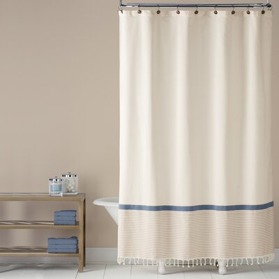 Fringe Border 100% Cotton Shower Curtain