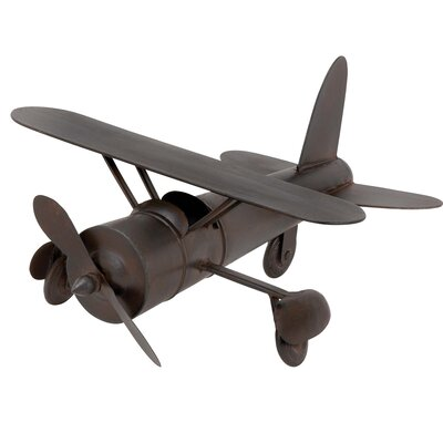 Vintage Toy Replica Handcrafted Metal Airplane Sculpture