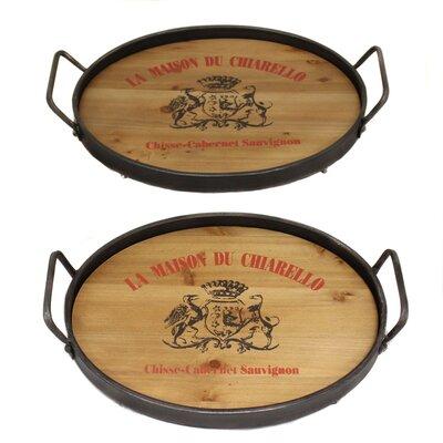 La Maison Du Chiarello Wood and Metal Serving Tray