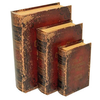 3 Piece Wood and Leather Book Safe Set