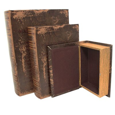 3 Piece Leather and Wood Book Safe Set