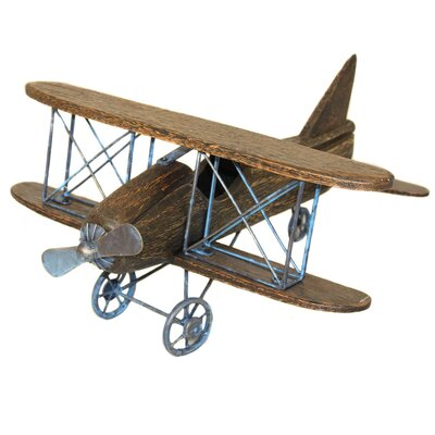 Urban Toy Replica Handcrafted Wooden Airplane Bi-Plane Sculpture