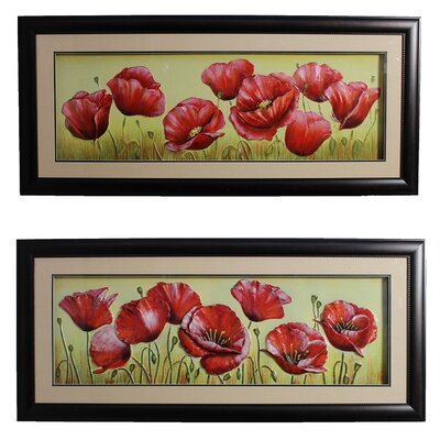 Urban Designs Red Poppy Field 2 Piece Framed Graphic Art Set 2166014NE-B