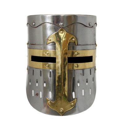 Antique Replica Medieval Armor Pot Helmet Finish: Rusted Silver and Gold
