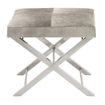 Urban Designs Leather Ottoman Upholstery: Gray Beige