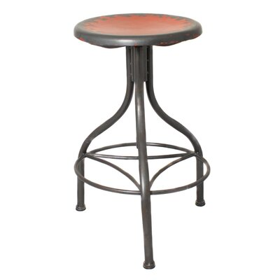 Urban Designs Adjustable Height Bar Stool Upholstery: Red