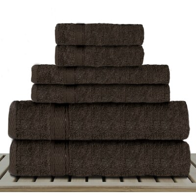 Sandra Venditti 6 Piece Rayon from Bamboo Towel Set Color: Chocolate