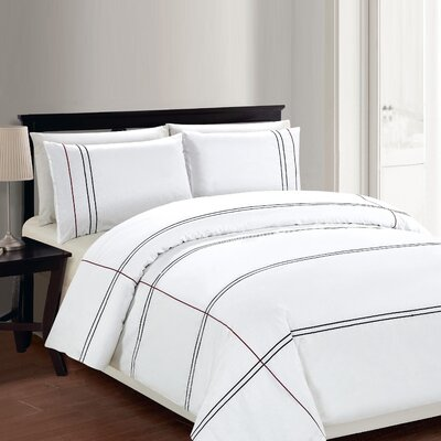 Cedano 3 Piece Duvet Cover Set Size: Double, Color: White