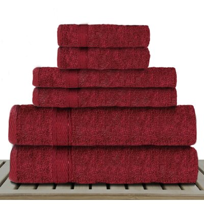 Sandra Venditti 6 Piece Bamboo Rayon Towel Set Color: Red