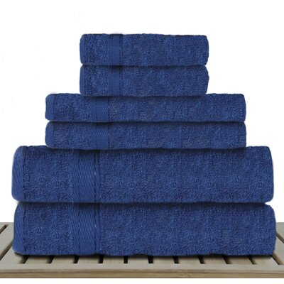 Sandra Venditti 6 Piece Bamboo Rayon Towel Set Color: Navy Blue