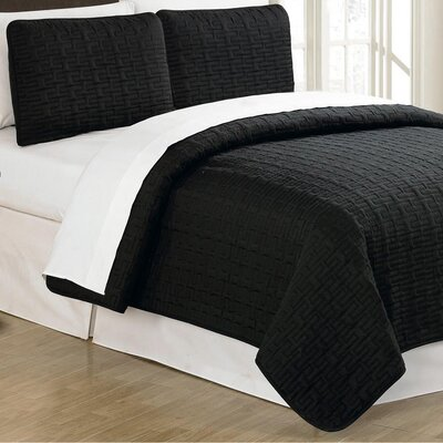 Sandra Venditti 3 Piece Quilt Set Color: Black, Size: King