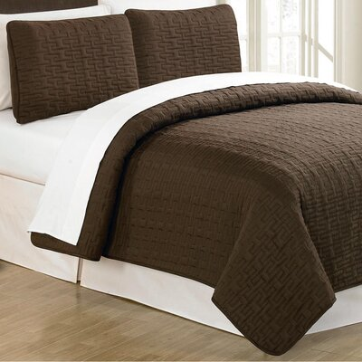 Sandra Venditti 3 Piece Quilt Set Color: Chocolate, Size: Full/Queen