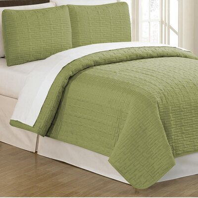 Sandra Venditti 3 Piece Quilt Set Color: Pistachio, Size: King