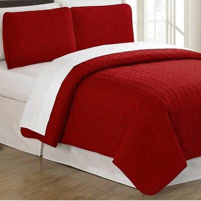 Sandra Venditti 3 Piece Quilt Set Color: Red, Size: King