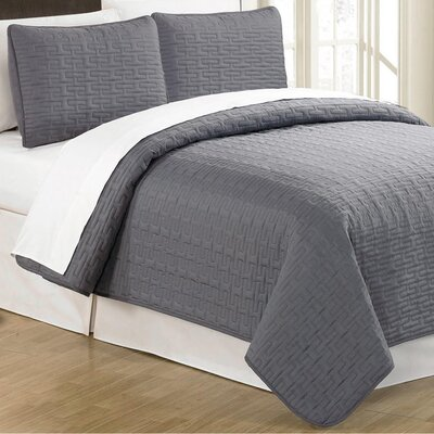 Sandra Venditti 3 Piece Quilt Set Color: Charcoal, Size: Full/Queen