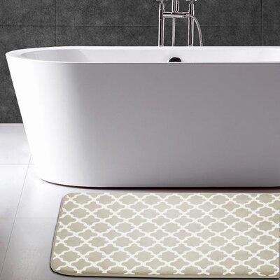 Maison Condelle Geometric Printed Flannel Memory Foam Bath Mat Color: Taupe