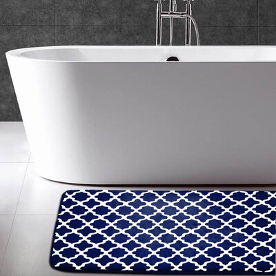 Maison Condelle Geometric Printed Flannel Memory Foam Bath Mat Color: Navy