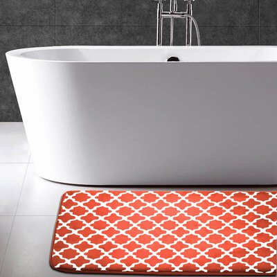 Maison Condelle Geometric Printed Flannel Memory Foam Bath Mat Color: Orange