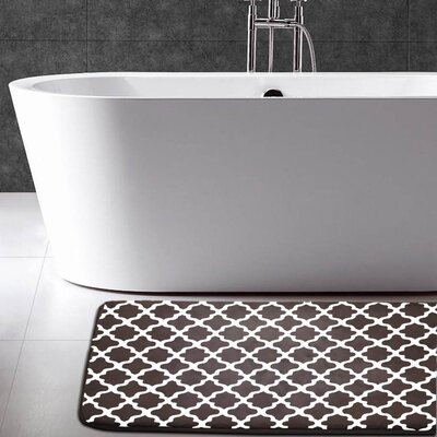 Maison Condelle Geometric Printed Flannel Memory Foam Bath Mat Color: Chocolate