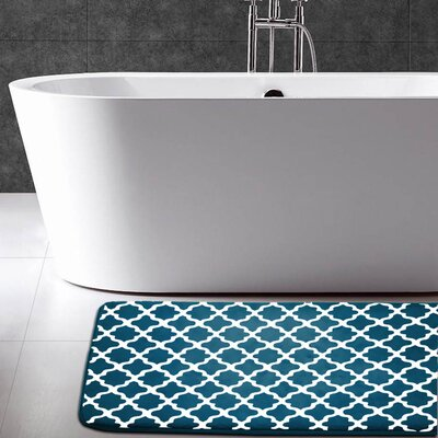 Maison Condelle Geometric Printed Flannel Memory Foam Bath Mat Color: Teal