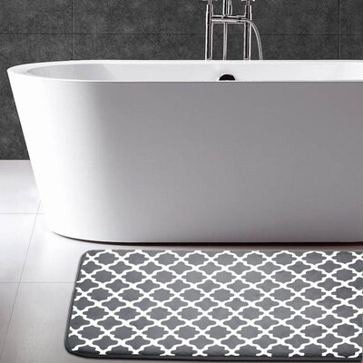Maison Condelle Geometric Printed Flannel Memory Foam Bath Mat Color: Charcoal