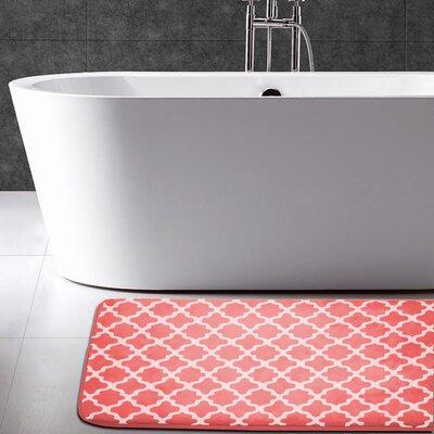 Maison Condelle Geometric Printed Flannel Memory Foam Bath Mat Color: Coral