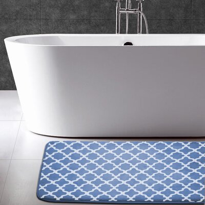 Maison Condelle Geometric Printed Flannel Memory Foam Bath Mat Color: Denim