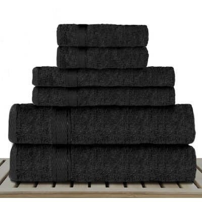 Sandra Venditti Rayon from Bamboo 6 Piece Towel Set Color: Black