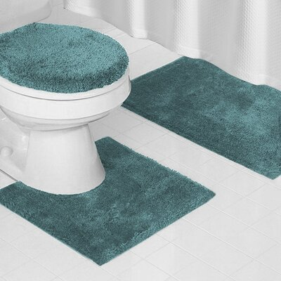 Reifsnyder Latex Anti-Slip Backing 3 Piece Bath Rug Set Color: Gray