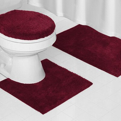 Reifsnyder Latex Anti-Slip Backing 3 Piece Bath Rug Set Color: Red