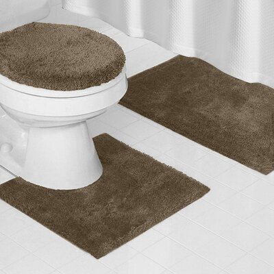 Reifsnyder Latex Anti-Slip Backing 3 Piece Bath Rug Set Color: Taupe