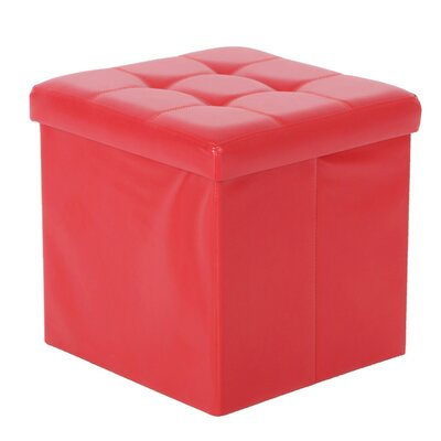 Cresskill Foldable Upholstered Ottoman Upholstery: Red