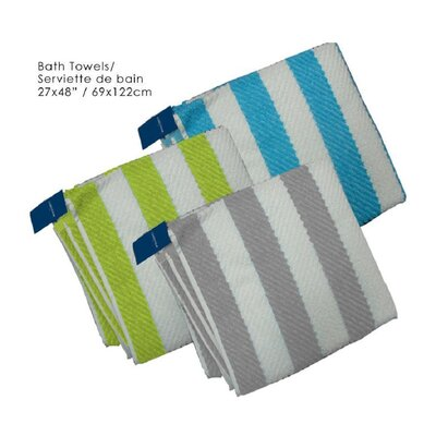 Cabana Striped Cotton Bath Towel Color: Aqua