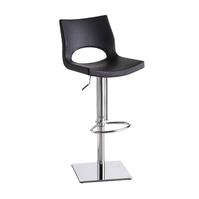 Alana Adjustable Height Swivel Bar Stool Upholstery: Black
