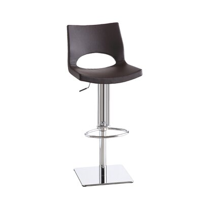 Alana Adjustable Height Swivel Bar Stool Upholstery: Brown