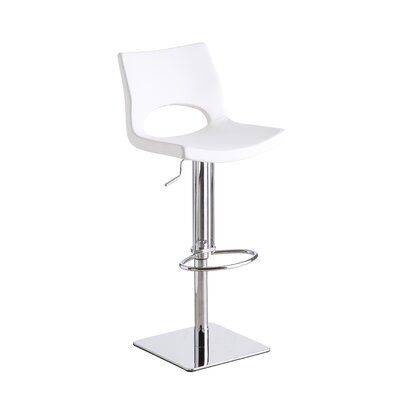 Alana Adjustable Height Swivel Bar Stool Upholstery: White