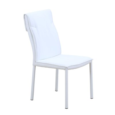 Ira Sydney Genuine Leather Upholstered Dining Chair (Set of 2) Finish: White