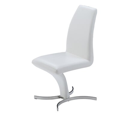 Bertaux Prague Genuine Leather Upholstered Dining Chair (Set of 2) Finish: White