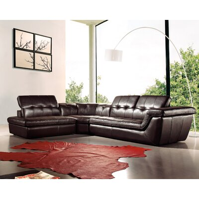 Lola Leather Sectional Upholstery: Chocolate, Orientation: Left Hand Facing
